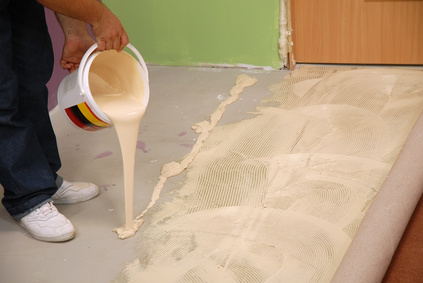 pouring special glue for carpet
